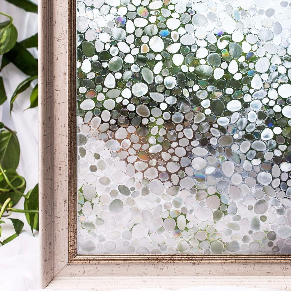 CottonColors PVC fenêtre Films couverture étanche sans colle 3D statique pavé décoratif autocollants en verre décor à la maison 45x200 cm