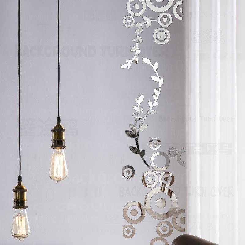 Creative BRICOLAGE colonne décoratif cercle anneau randonnée vigne acrylique miroir stickers muraux décor à la maison 3d chambre décoration stickers R230