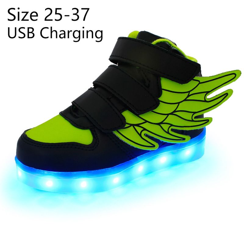 KRIATIV enfants allument des chaussures avec aile led pantoufles chaussures led nourrisson pour enfants garçon et fille baskets lumineuses brillant