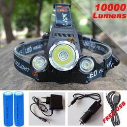 10000Lm CREE XML T6 + 2R5 LED Phare de Phare Chef Lampe 4 mode torche + 2x18650 batterie + UE/US chargeur De Voiture pour Feux de pêche