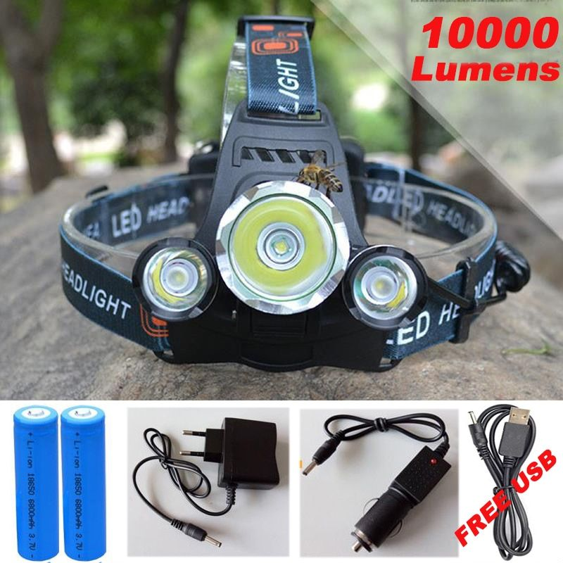10000Lm CREE XML T6+2R5 <font><b>LED</b></font> Headlight Headlamp Head Lamp Light 4mode torch +2x18650 battery+EU/US Car charger for fishing Lights