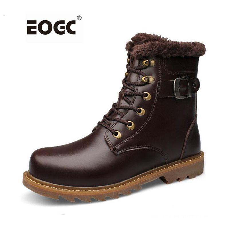Plein véritable cuir hommes bottes top qualité en cuir de vache hiver chaussures À La Main super chaud hommes cheville bottes non-slip hommes de neige bottes