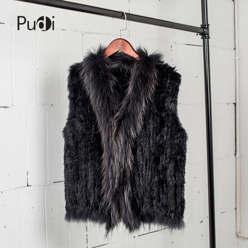 VR033 Women Genuine Natural Real rabbit fur Knitted Vests /Waistcoat/ gilet /coats with tassels Raccoon Fur collar