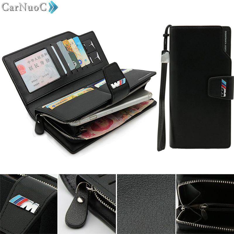 Genuine Leather Men Clutch Bag black Wallet Car Driver License Bag Credit Card Handbag for BMW e36 e53 e39 e46 e60 e90 f30 f10