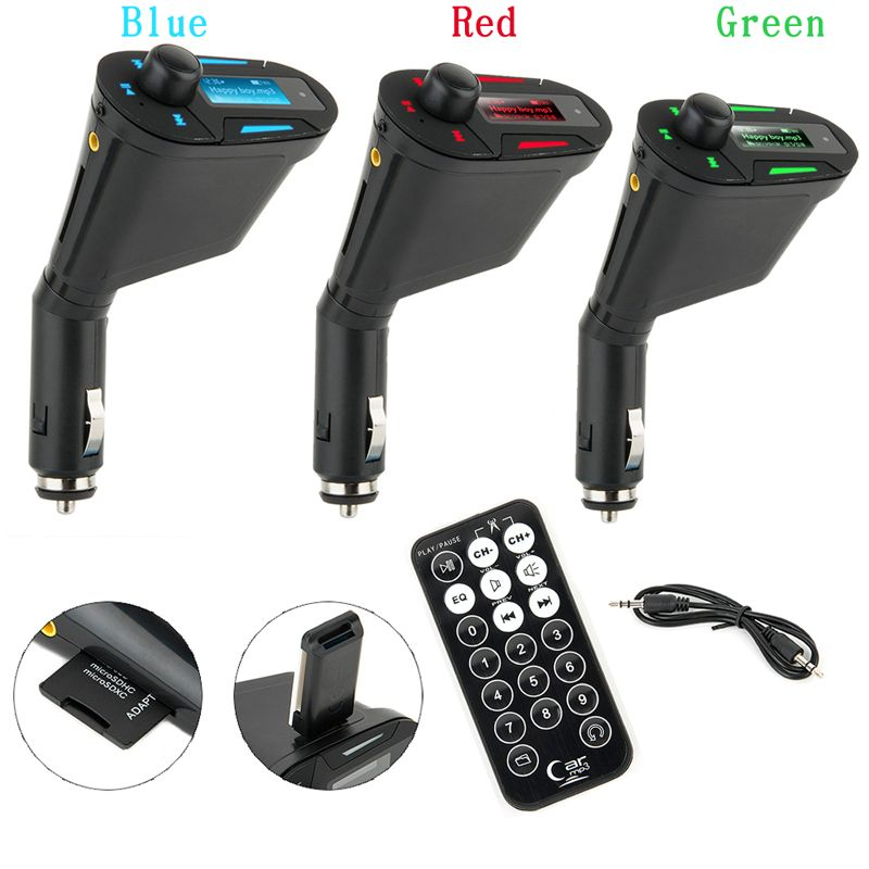KWOKKER Car MP3 Player Wireless FM Transmitter Modulator with USB SD MMC LCD With Remote Car MP3 Player Wireless FM Modulato
