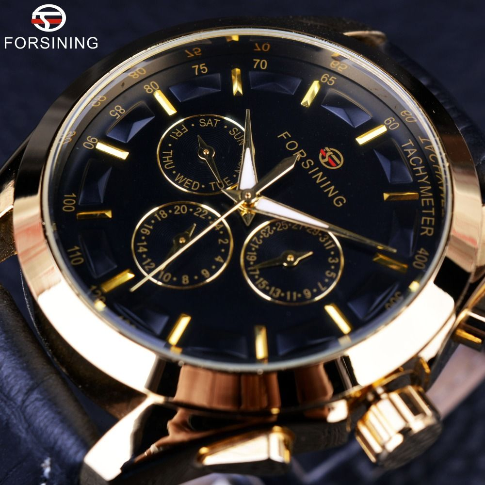 Forsining 2016 Retro Fashion Designer Three Dial Decoration Genuine Leather Golden Men Luxury Brand Automatic Mechanical Watches