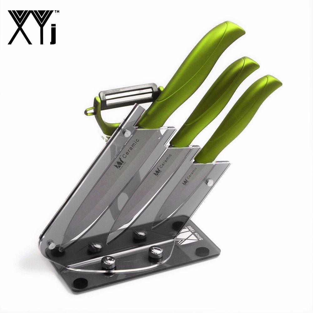 Ensemble de couteaux en céramique à lame noire XYJ 3 couteaux de cuisine A éplucheur noir + vert + un support de couteau en acrylique outils de cuisine de haute qualité