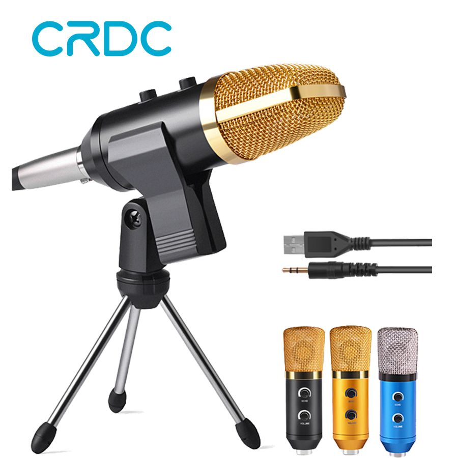 CRDC HOT!! Professional Handheld Condenser Microphone USB Computer Microphone Stand Tripod Wired 3.5mm Jack For Recording Studio