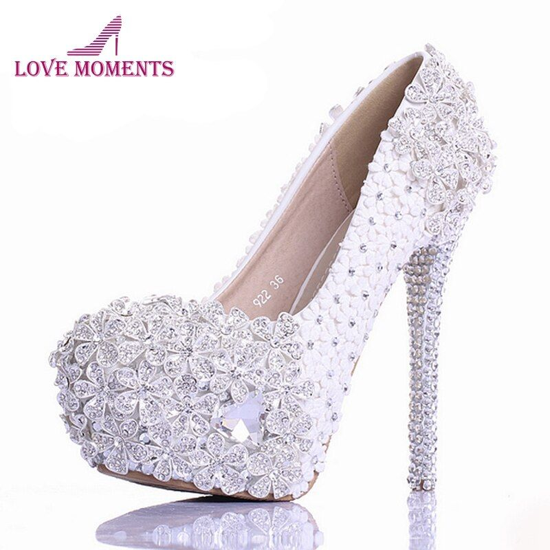 White Lace Flower Rhinestone Wedding Shoes Luxury Handmade High Heel Bridal Shoes Evening Prom Pumps 2018 Newest Design Size 10