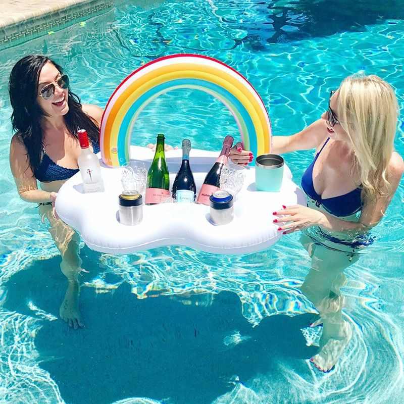 Ice Bucket Rainbow <font><b>Cloud</b></font> Cup Holder Inflatable Pool Float Cooler Beer Drink Table Bar Tray Zwembad Party Toys Beach Accessories
