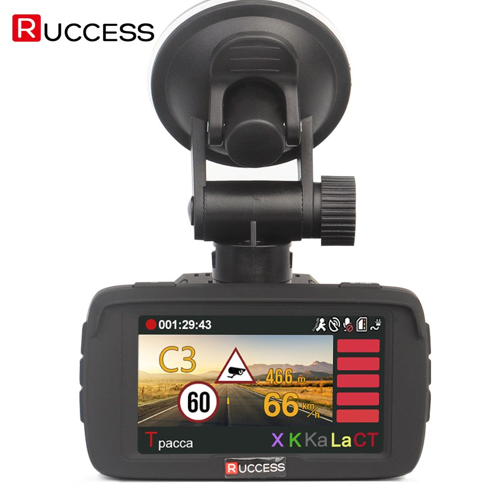 RUCCESS Ambarella Video Recorder 3 in 1 DVR GPS Radar Detector Full HD 1296P Speedcam Car Camera Anti Radar Detectors Dash Cam
