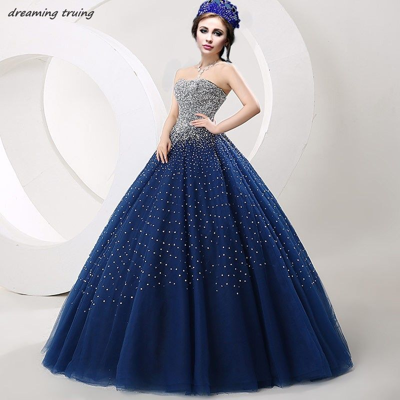 Vestidos De 15 Anos Bling Bling Beaded Sequined Ball Gowns Dark Blue Quinceanera Dresses Girl Prom Party Gown Sweet 16 Dresses
