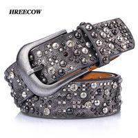 Remache incrustaciones antiguo cinturón para las mujeres moda Pin hebilla cintura mujeres cinturones PU + cuero genuino marcas de lujo cinturón de cuero femenino