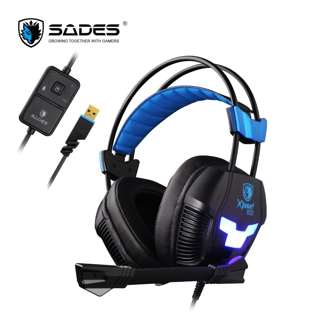 SADES Xpower Plus Gaming Headset Gamer Headphones Stereo Surround Sound 2-Level <font><b>Vibration</b></font> LED