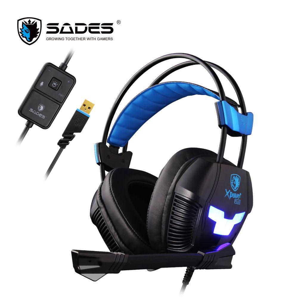 SADES Xpower Plus Gaming Headset Gamer Headphones Stereo Surround Sound 2-Level Vibration LED