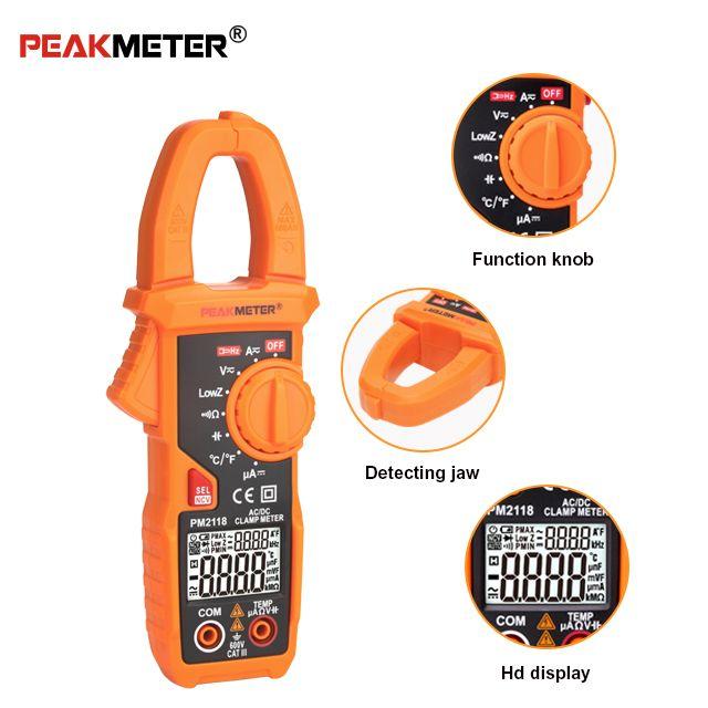 PEAKMETER PM2118 Portable intelligent AC/DC pince mètre multimètre courant tension résistance continuité testeur de mesure avec NCV