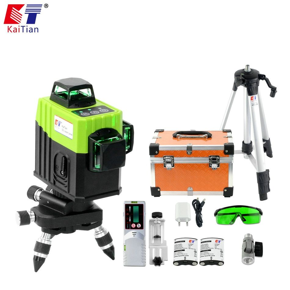 KaiTian 12Lines 3D Laser Level Tripod Self-Leveling Cross Horizontal 360 Vertical Green Lasers Receiver Beam Line Livella Levels