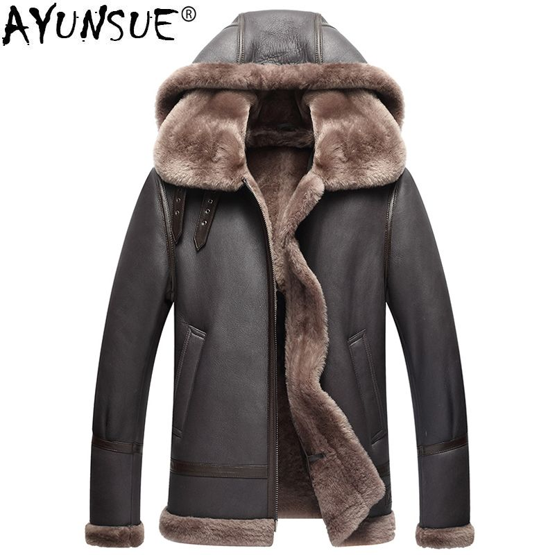AYUNSUE Genuine Leather Jacket Men Winter Australian Natural Fur Real Sheepskin Coat for Men Lamb Fur Flight Men's Jackets KJ853