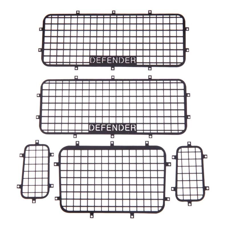 5pcs Metal Window Mesh Protective Net with DEFENDER Logo for 1/10 RC Crawler Car Traxxas TRX-4 Practical RC Cars Accessories