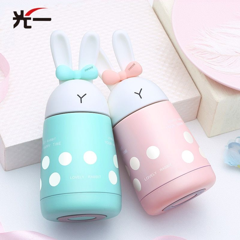 Милый кролик детские Кормление чашка молока термос Обувь для девочек с изоляцией бутылке Нержавеющаясталь Термальность утечка чашка-пуф ...