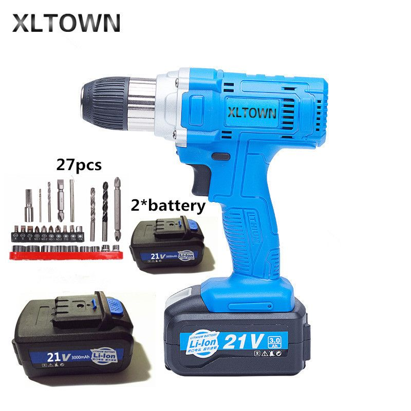 Xltown 21v high-power cordless drill with high-capacity rechargeable lithium battery Electric screwdriver power tool drill bits