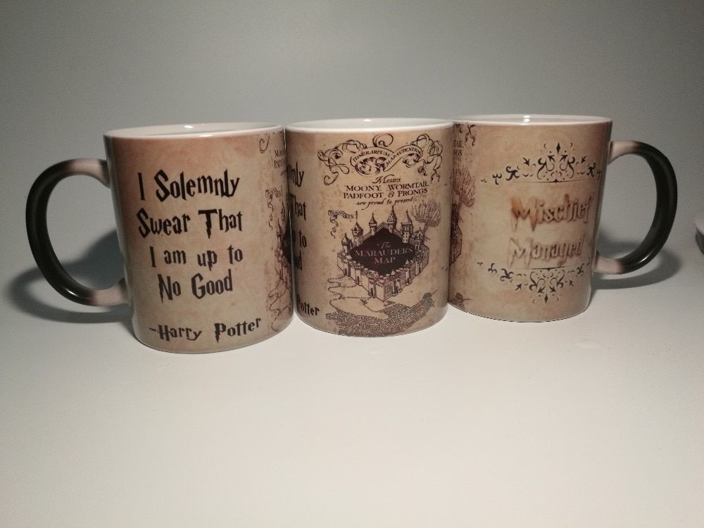 Хогвартс кружки карта мародеров кружки кофе Чай тепла выявить волшебная кружка Гриффиндор Хаффлпаффец Равенкло Слизерин Mugen
