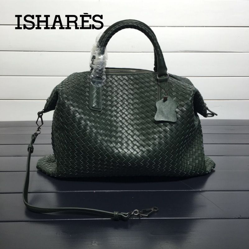 ISHARES Genuine Leather Sheepskin Handbags lambskin high quality Women weave Shoulder Bags Casual Totes Large Capacity IS193785L