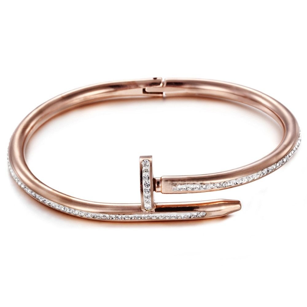 Heyrock Unique Nail Bracelet with Full Crystals for Girls Women Openable Stainless Steel Cuff Bangles Love Jewelry