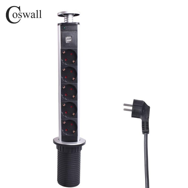 COSWALL 16A PULL POP UP 5 Power Socket 2 USB Charging Port Kitchen Table Desktop Sockets Retractable Countertops Worktop EU Plug