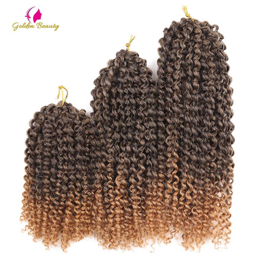 8-12 pulgadas Crochet Trenzas de Pelo Trenzado Sintético a prueba de Calor Rizado Ombre Extensiones de Cabello Crochet 60 filamentos/paquete Belleza de oro