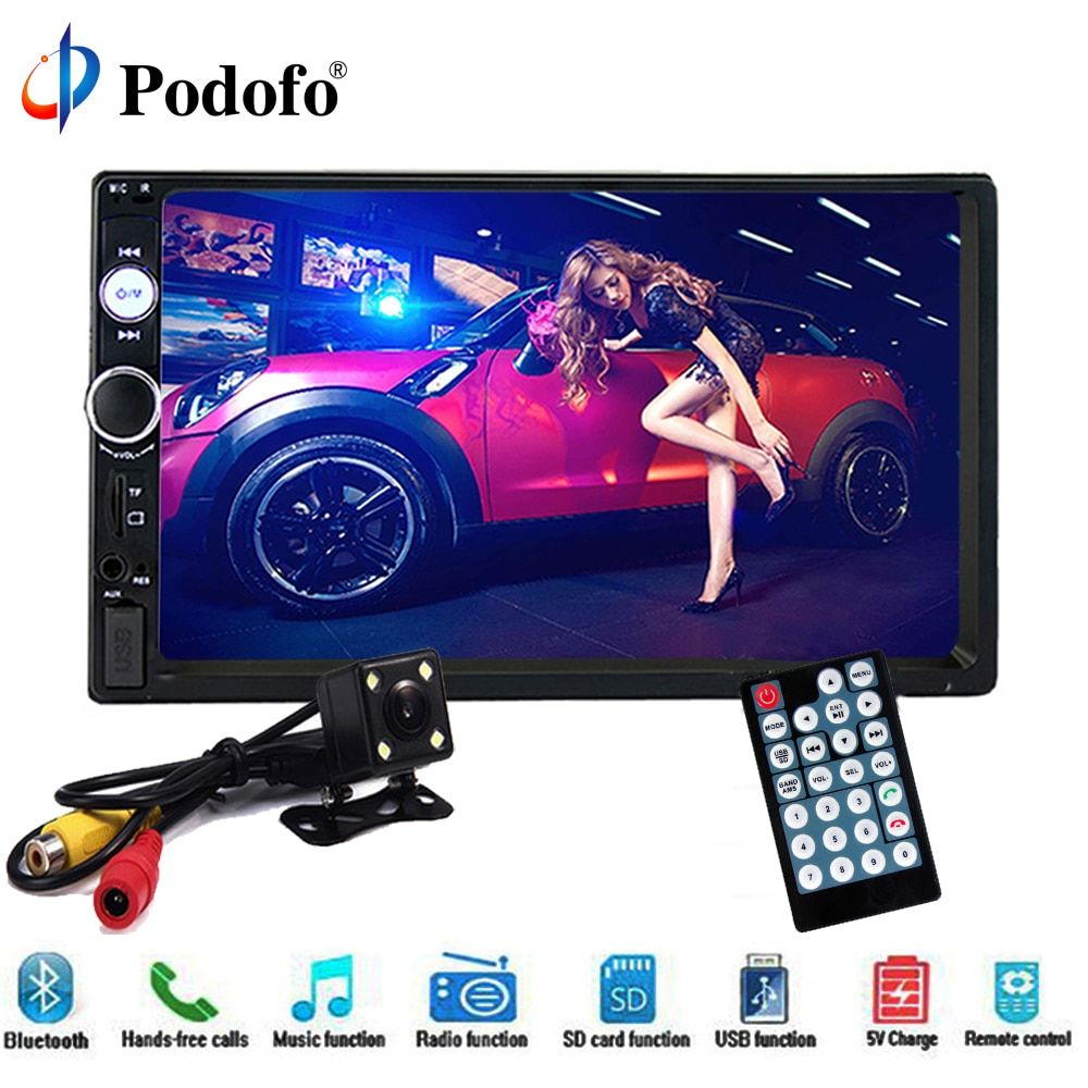 Podofo 2 din car radio Multimedia Player Audio Stereo 7