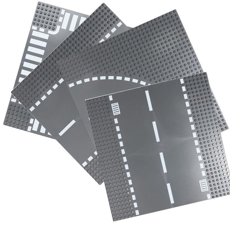 Road Plate Straight Crossroad Curve T-Junction Building Blocks Parts Bricks Base Compatible Legoe City Blocks Baseplate Toys