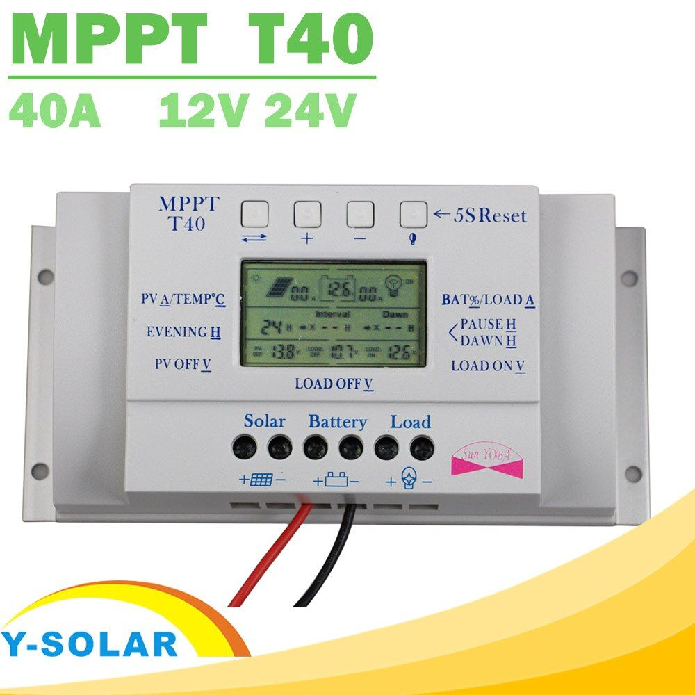 MPPT T40 40A Solar Charge Regulator 12V 24V Auto LCD Display Controller with Load Dual Timer Control for Street Light System