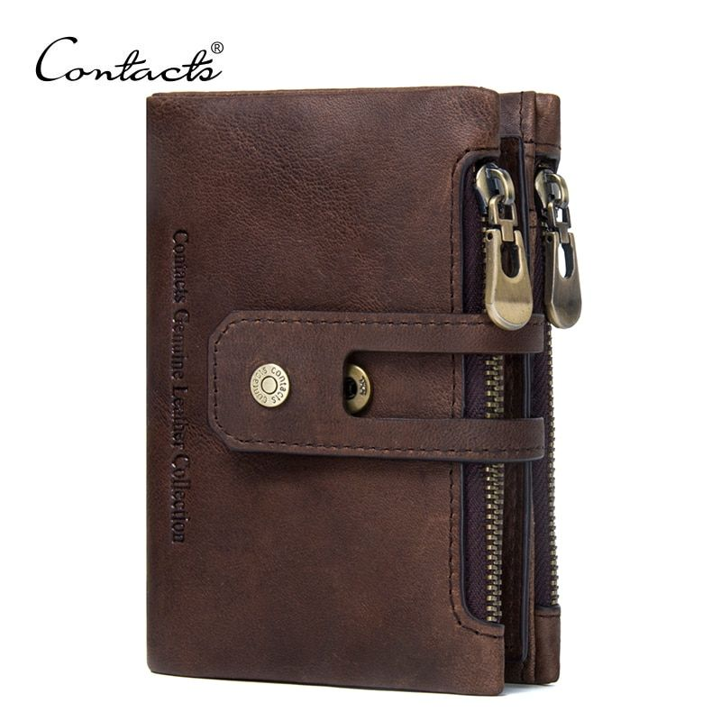 CONTACT'S Genuine Leather Men Wallet <font><b>Small</b></font> Men Walet Zipper&Hasp Male Portomonee Short Coin Purse Brand Perse Carteira For Rfid