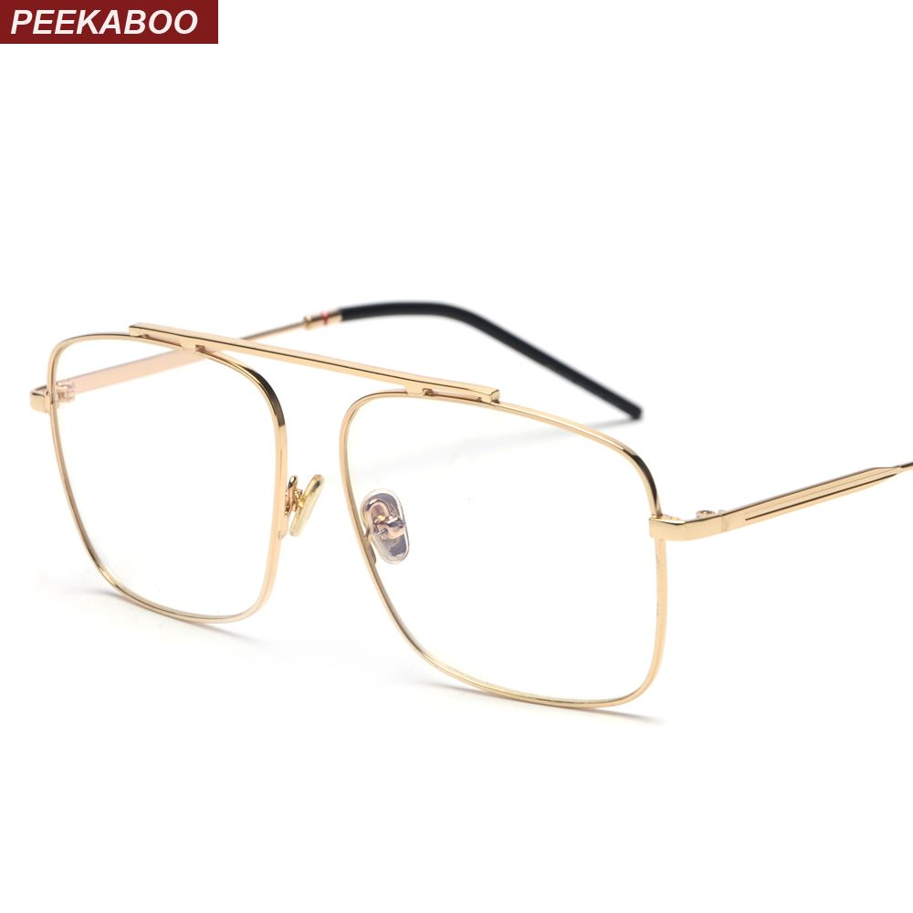 Peekaboo square glasses frame women gold metal 2018 brand designer flat top big eyeglasses optical frame men unisex
