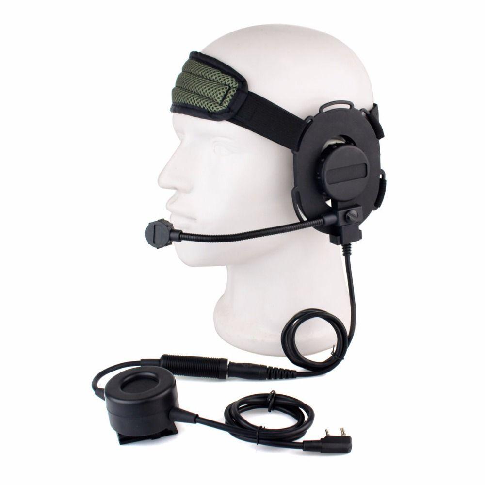 Z Tactical Bowman Elite II Headset with Waterproof PTT for Kenwood 2 Pin Walkie Talkie BaoFeng UV-5R GT-3 UV-82 UV-6R