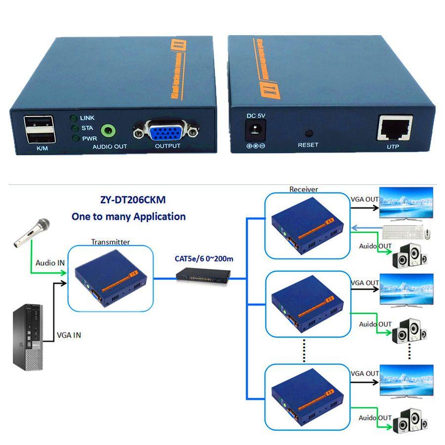 VGA USB Audio Über IP KVM Extender 200 mt 1080 P VGA tastatur Maus Extender Sender Empfänger Durch Ethernet RJ45 Cat5e Cat6 kabel