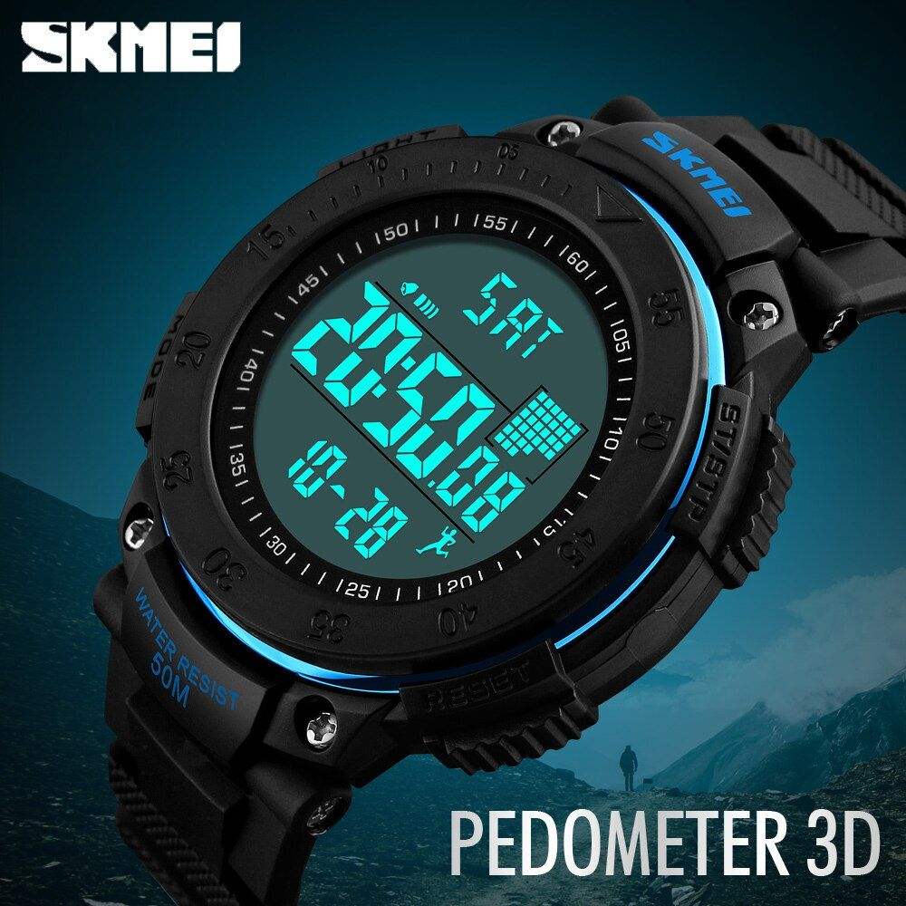 SKMEI Brand Men Sports Watches 3D Pedometer Multifunctional <font><b>Relojes</b></font> Waterproof Relogio Masculino LED Digital Wristwatches 1238