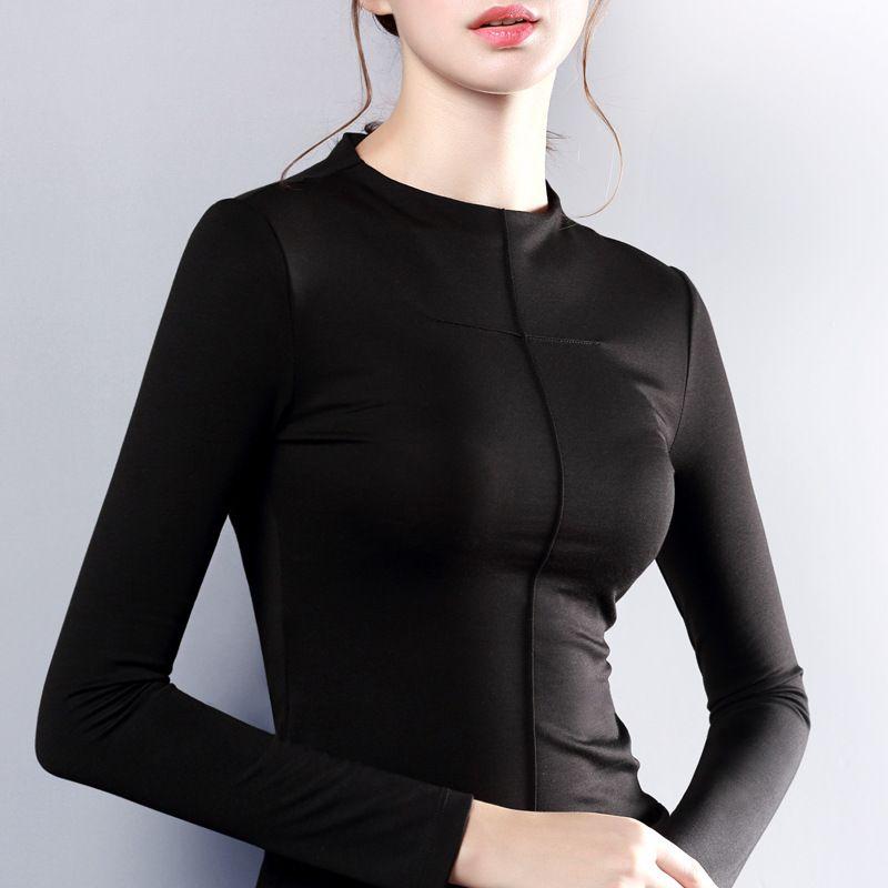 Женский топ с длинным рукавом О-образным вырезом Футболка Женщины Все Match Tee черный серый белый Футболка женские топ одежда
