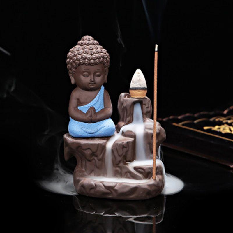 T Bouddha Cône Refoulement Encens Brûleurs Petit Moine Céramique Cône Bâton Encens Maison Titulaires Bureau Décorations Thé Animaux Cadeau