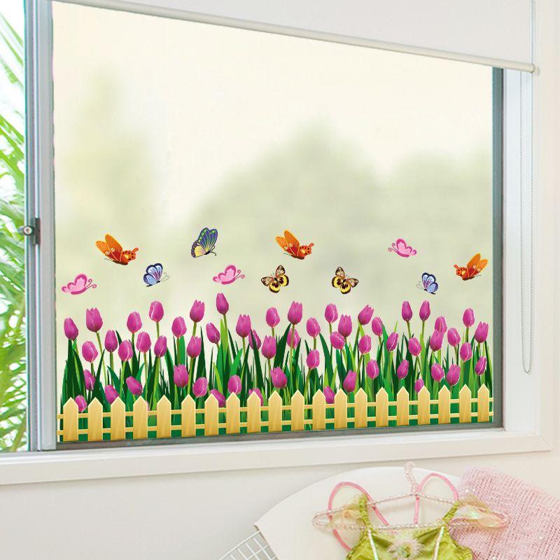 [SHIJUEHEZI] Tulipes autocollant de fenêtre Vinyle bricolage Fleurs décoration d'intérieur Autocollant pour Salon Chambre Plinthe Boutique Verre Décoration