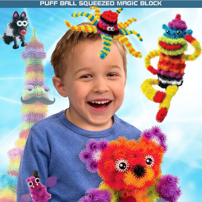 400+ Pcs Magic DIY Puff Ball Squeezed Block Toy Set Kids Funny Assembling Thorn 3D Models  Building Toys for Children Gift