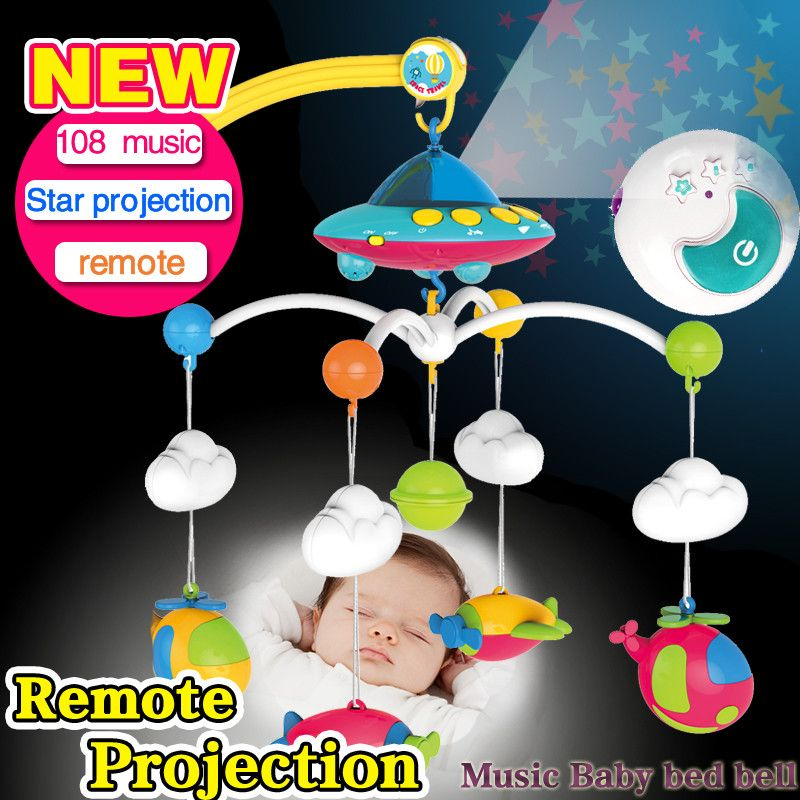 Baby bed bell 0-1 year old newborn toy 3-6-12 months <font><b>rotating</b></font> music bed hanging baby rattle bracket set baby crib mobile holder