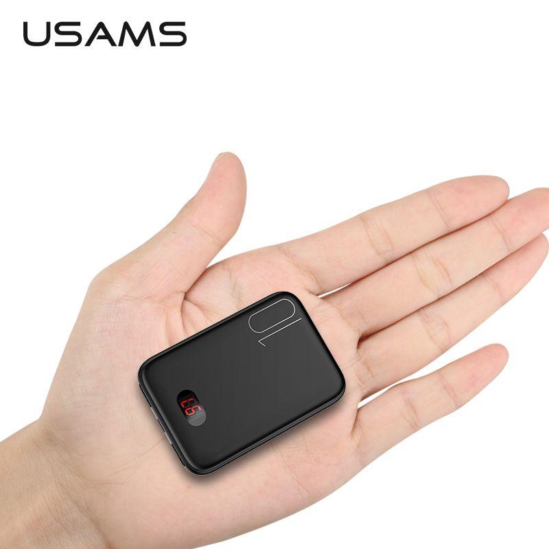 USAMS mini batterie externe pour xiaomi mi iPhone Pover banque 10000 mAh LED affichage Powerbank batterie externe pauvreté banque charge rapide