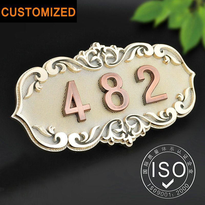 Número de Casa Habitación Puerta de Estilo Europeo Clásico Brone Como ABS Custom-Made 3 a 4 Números Personalizar Placa de La Puerta del Hotel Hotel