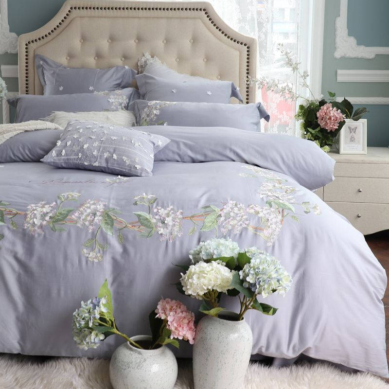 Luxury American Style Pastoral Flower Embroidery 60S Egyptian cotton Bedding Set Duvet Cover Bed sheet/Linen Pillowcases 4/7pcs