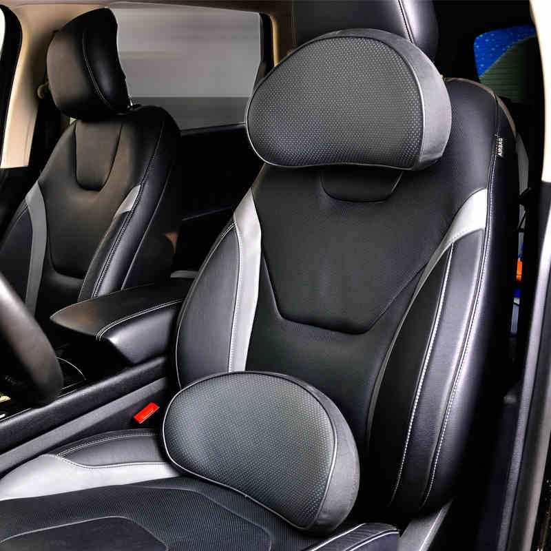 Car headrest waist support black artificial leather beathable seat lumbar supports car interior accessories