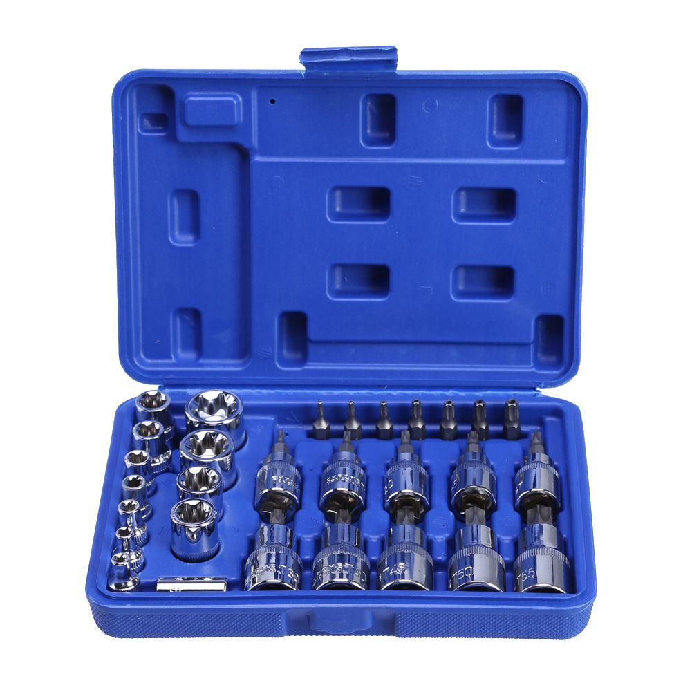 29 PC Torx Ensemble de Outil Femelle Mâle Torx E et T Prises Kit dans un Cas Mécanique Enginner De Réparation outils