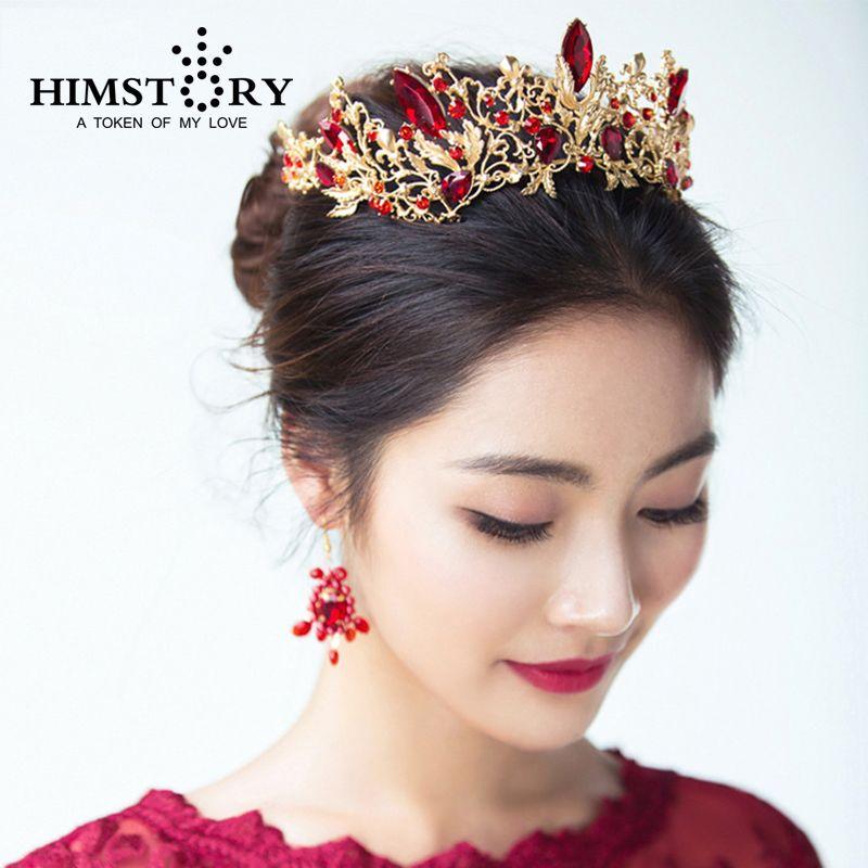 HIMSTORY luxe princesse reine couronne européenne Baroque grande couronne de cheveux mariage coiffure mariage accessoire de cheveux