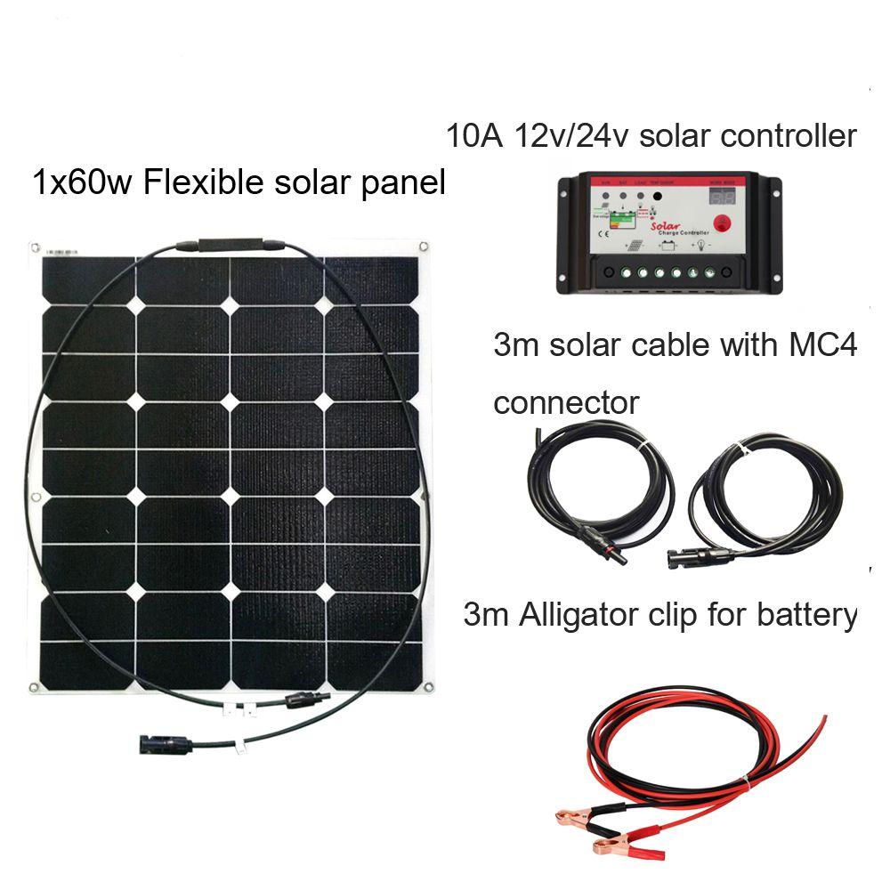 XINPUGUANG 60 watt 20 v ETFE oberfläche solar panel DIY RV Boot Kits Solar System flexible 12 v 10A solar controller 3 mt MC4 kabel clip